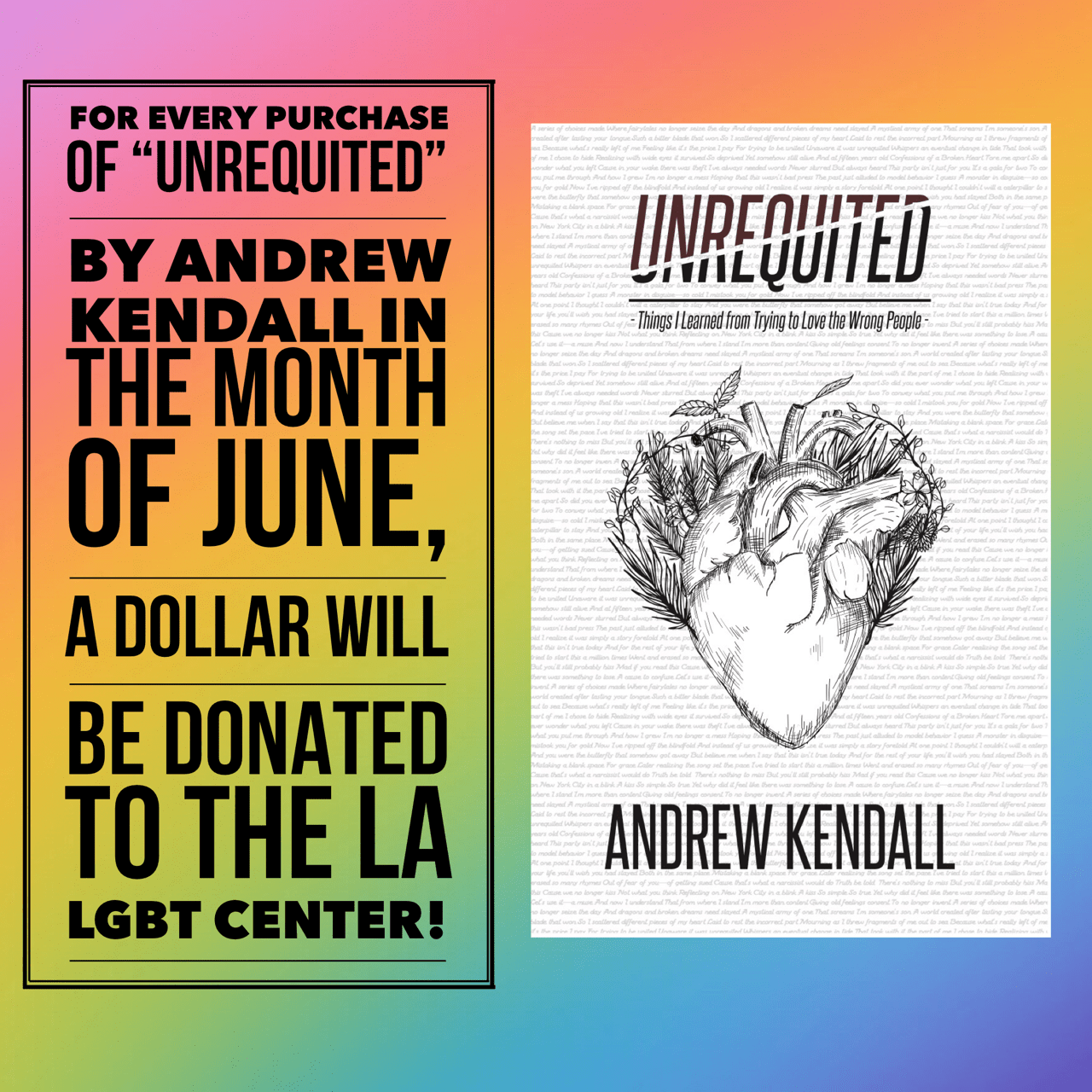 Every Purchase of Unrequited Helps me Donate More to charity